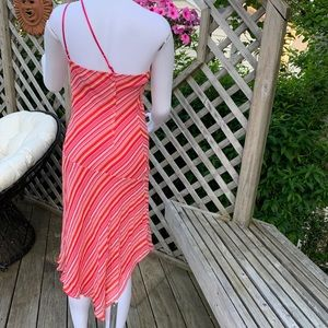 Dresses - One shoulder orange &pink stripe dress